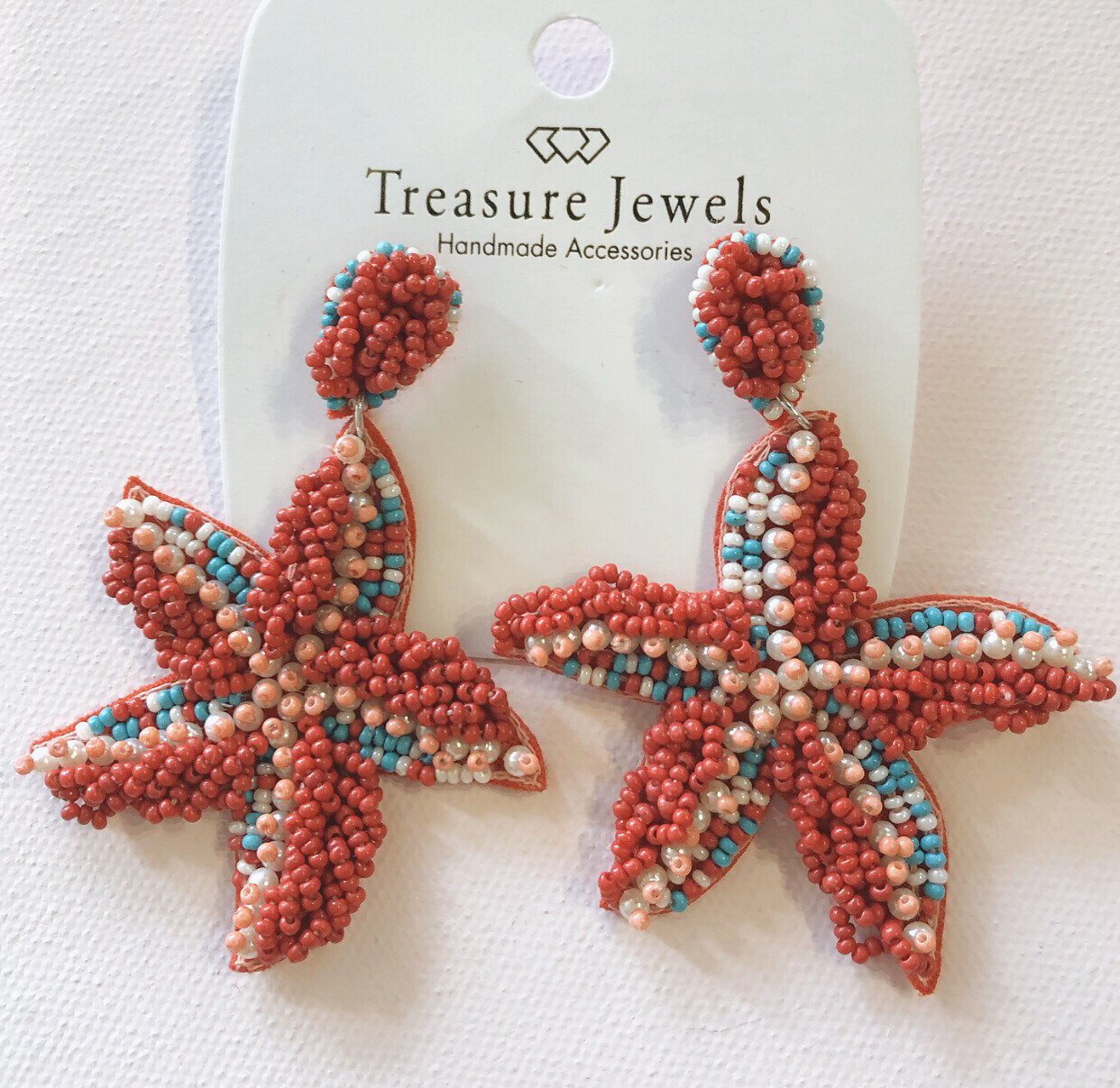 Red Starfish Earrings