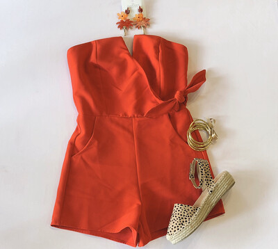 Red Sweetheart Romper