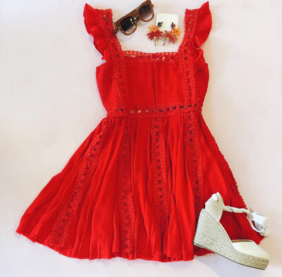 Red Appliqué Dress