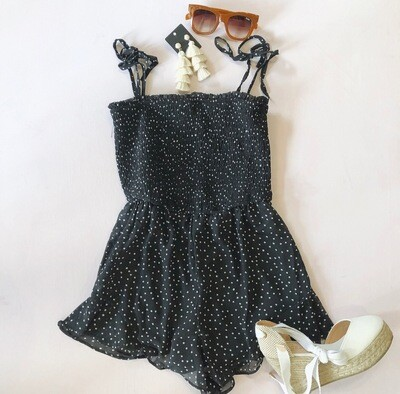 Black And White Pleated Romper