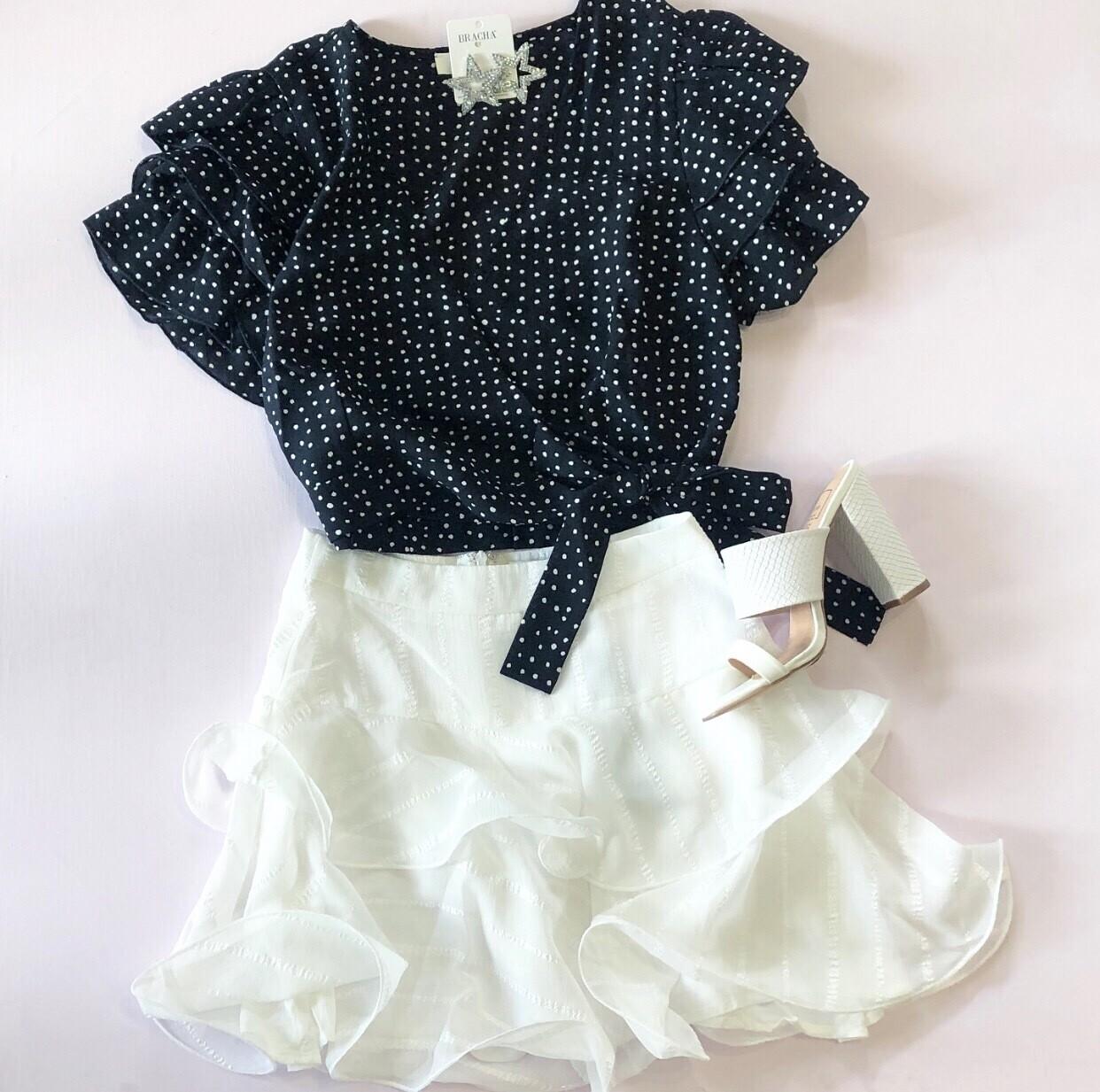White Flutter Skirt