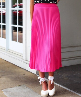 Fuchsia Pleated Midi