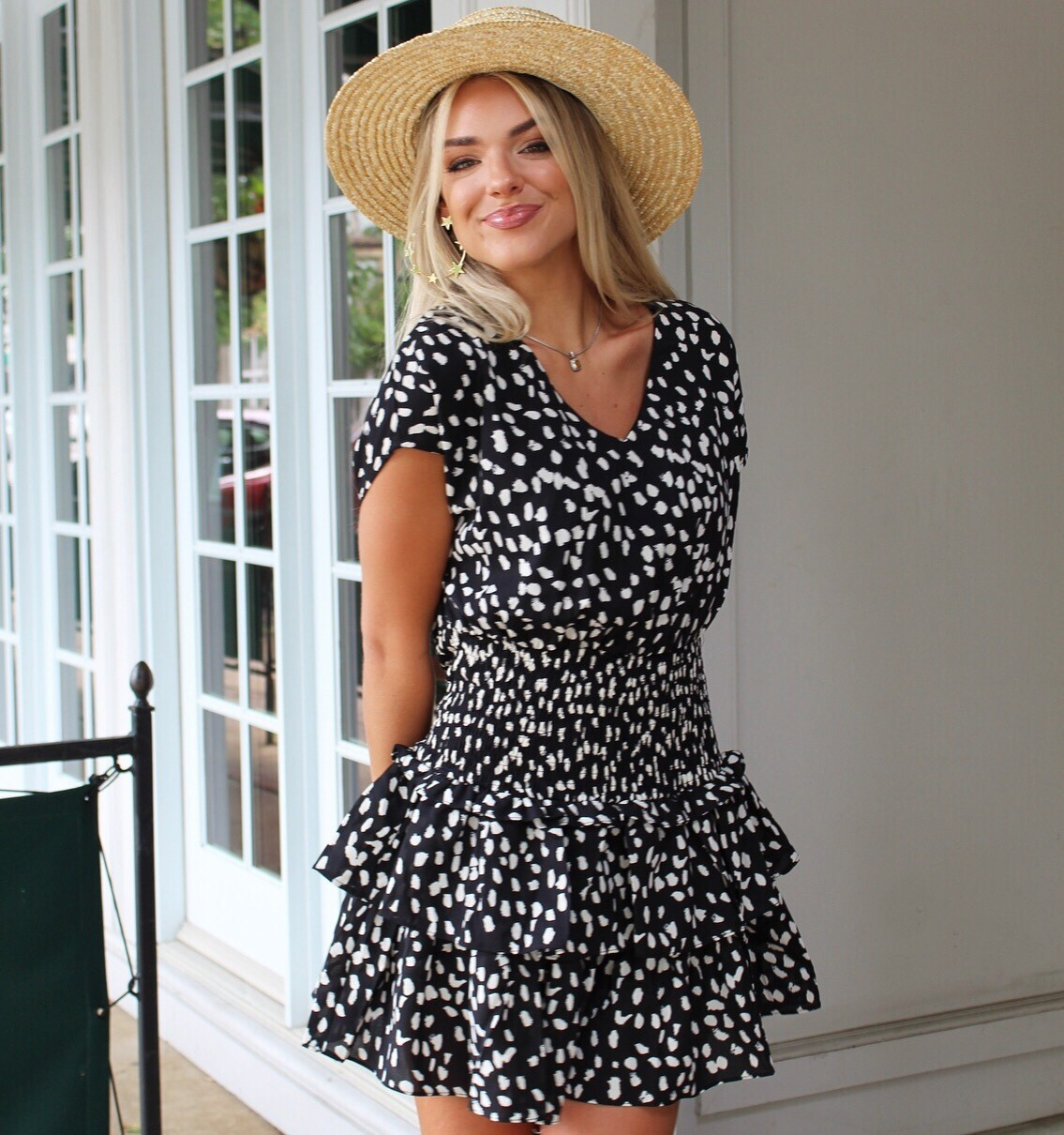 Black Dot Pleated Ruffle Dress