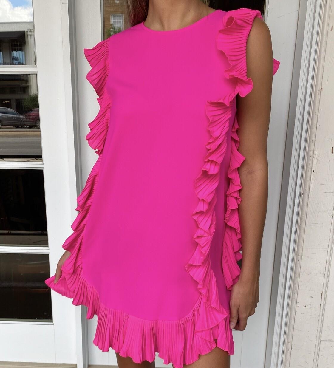 Shocking Pink Flutter Dress