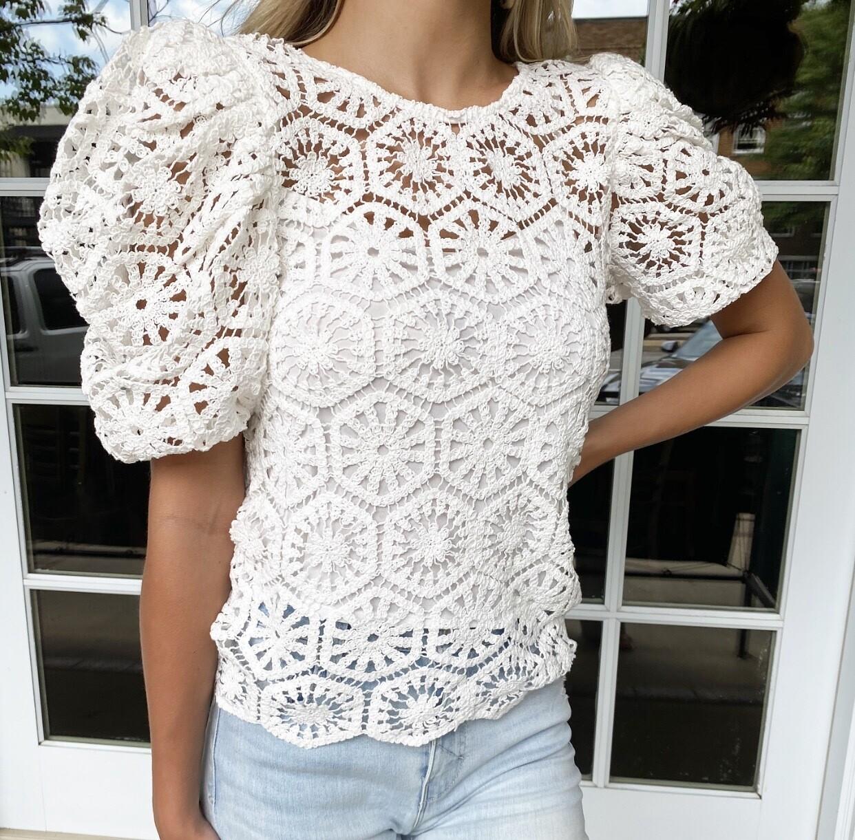 White Crochet Blouse