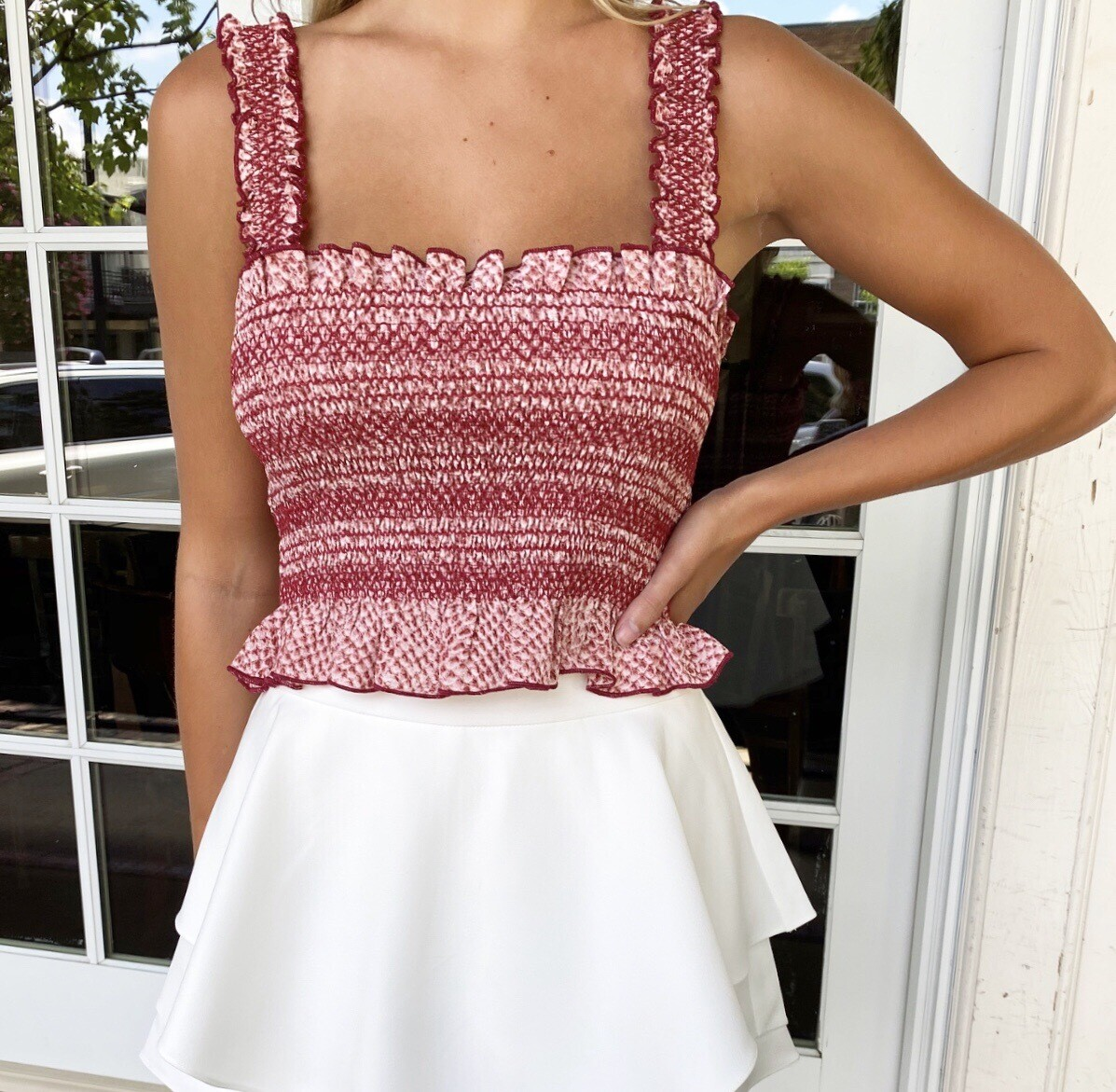Crimson And White Pleated Top
