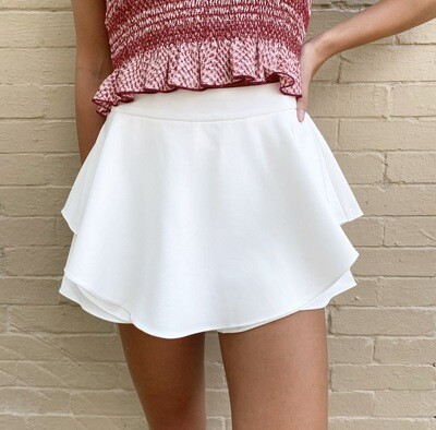 White Layered Skort