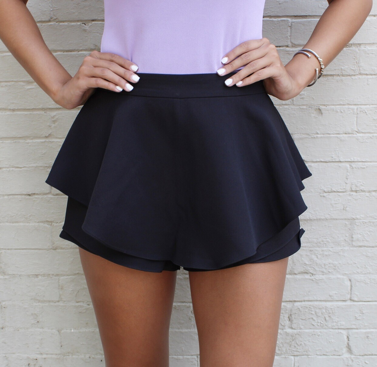Black Layered Skort