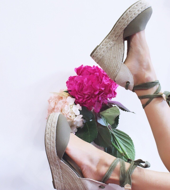 Olive Canvas Wrap Wedge