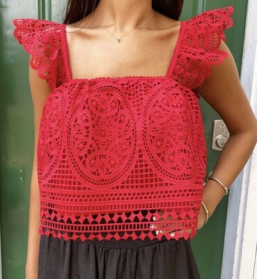 Red Lace Flutter Top