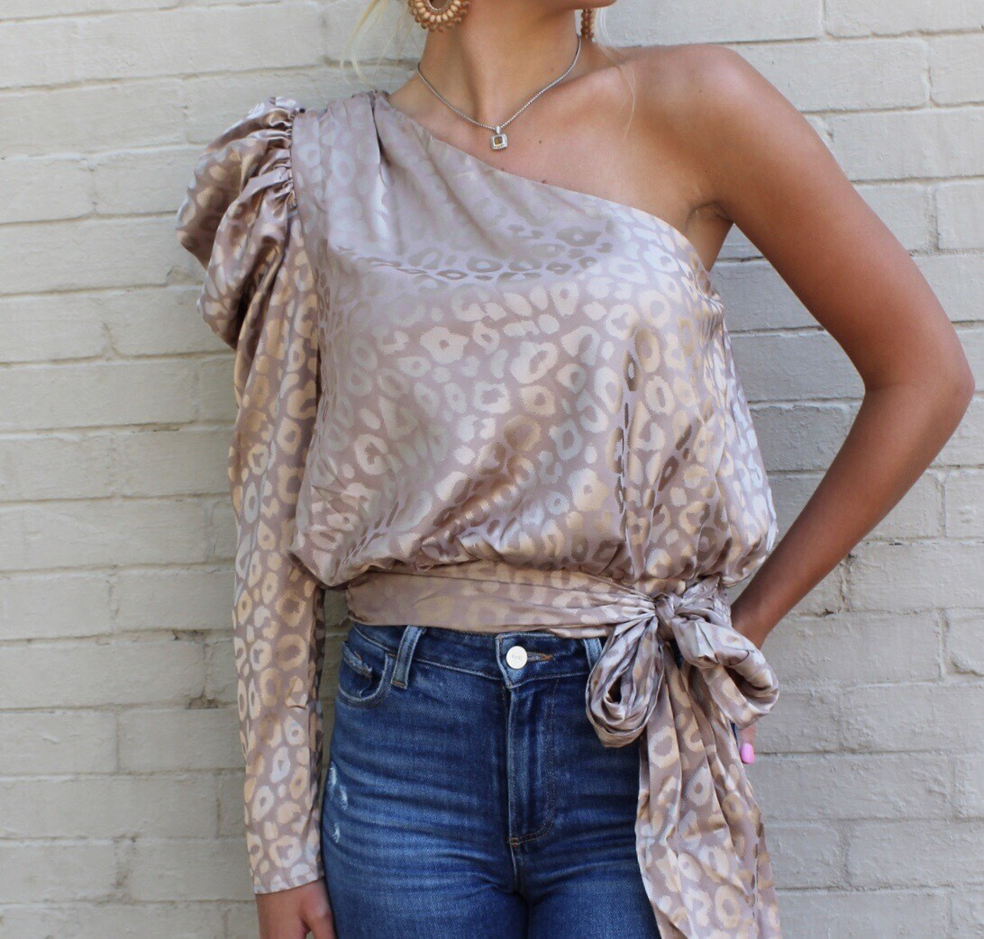 Taupe Leopard One Shoulder Blouse