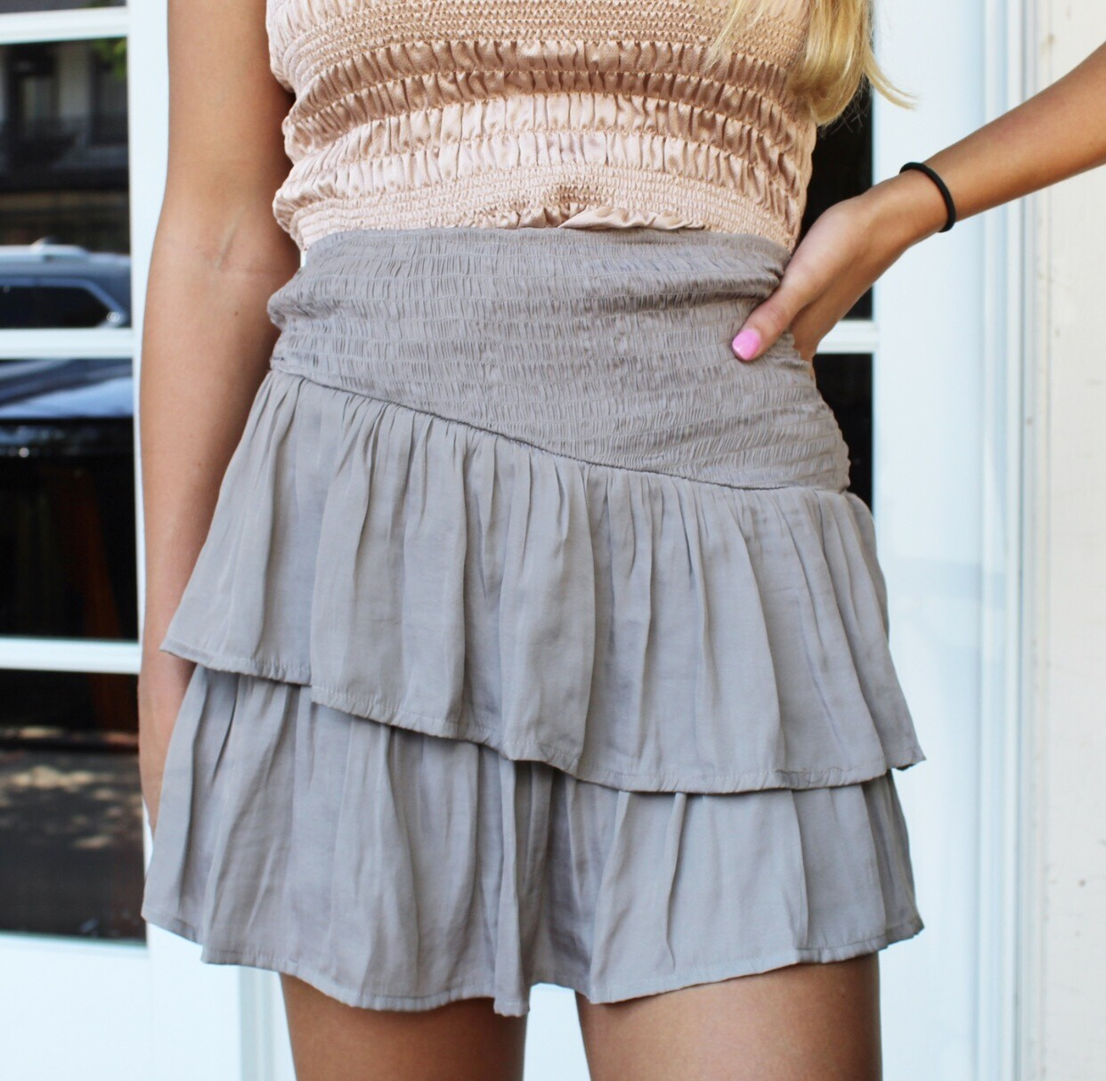 Silver Olive Pleated Skirt