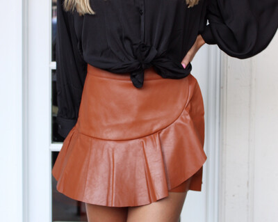 Camel Faux Leather Skort