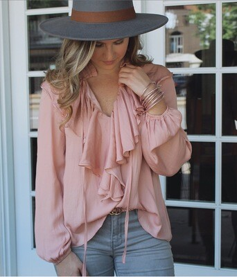 Rose Long Sleeve Flutter Top