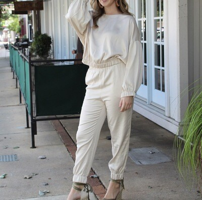 Beige Silk Jogger Set