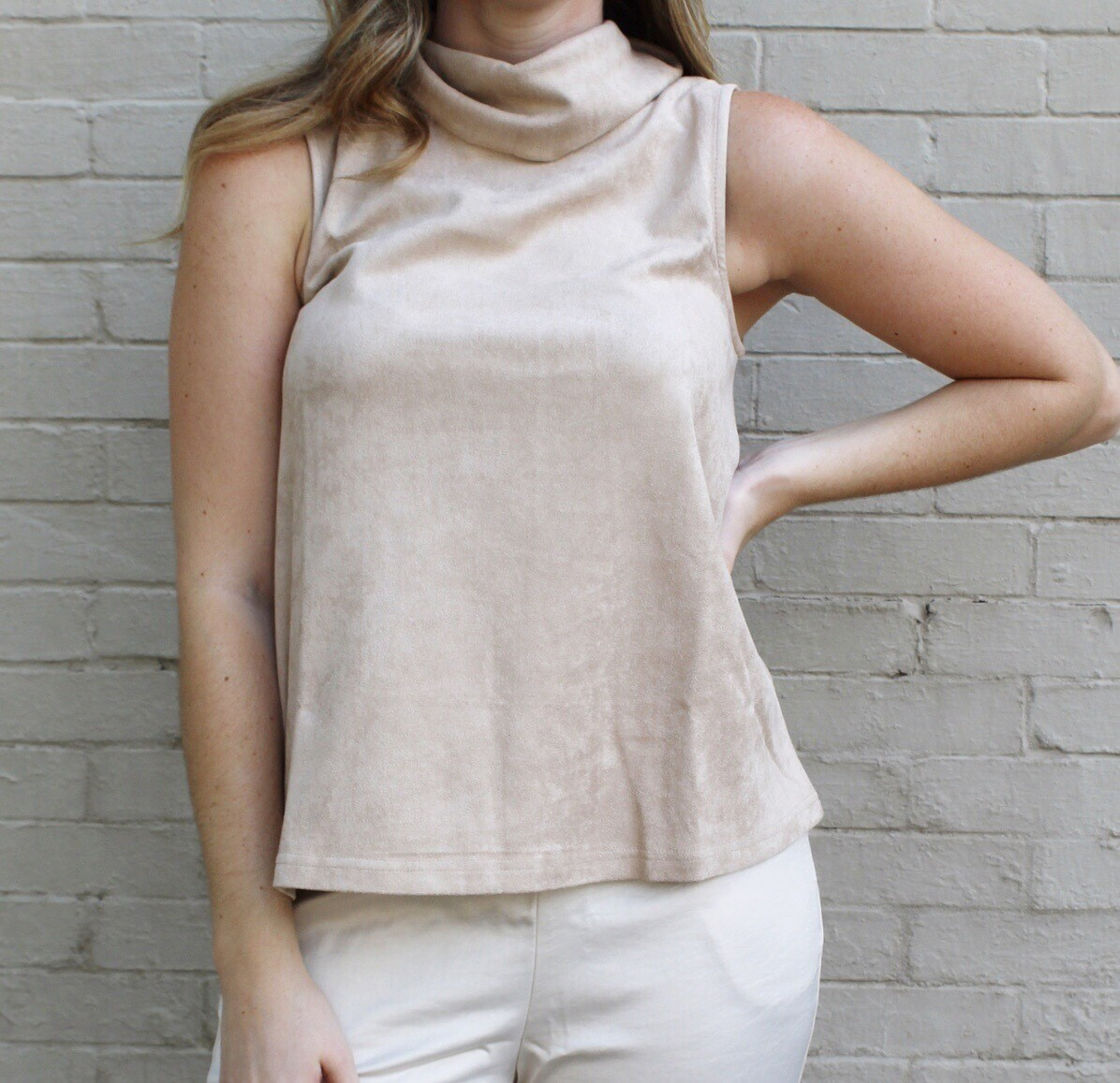 Mock Turtleneck Suede Tank
