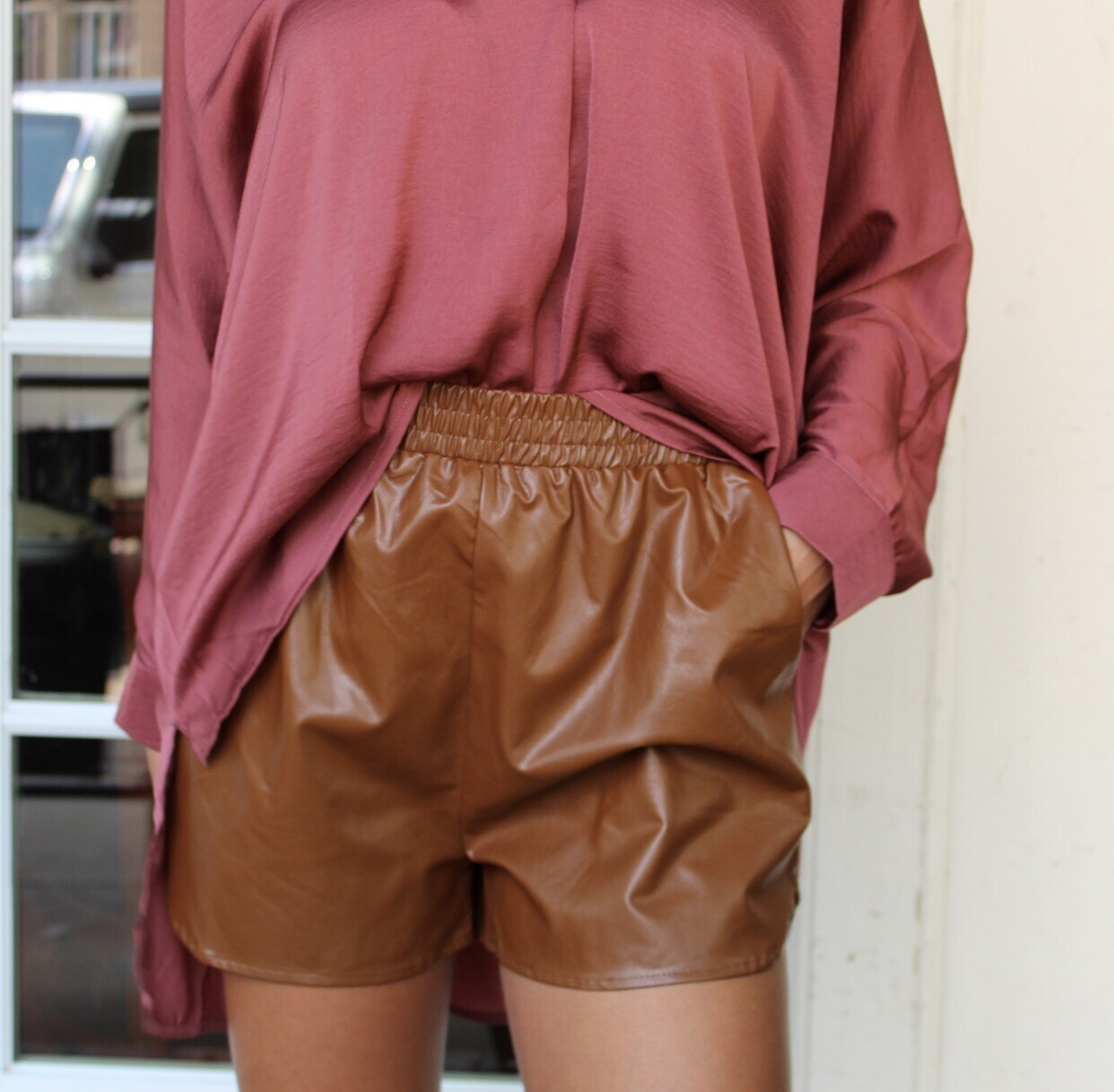 Camel Faux Leather Short