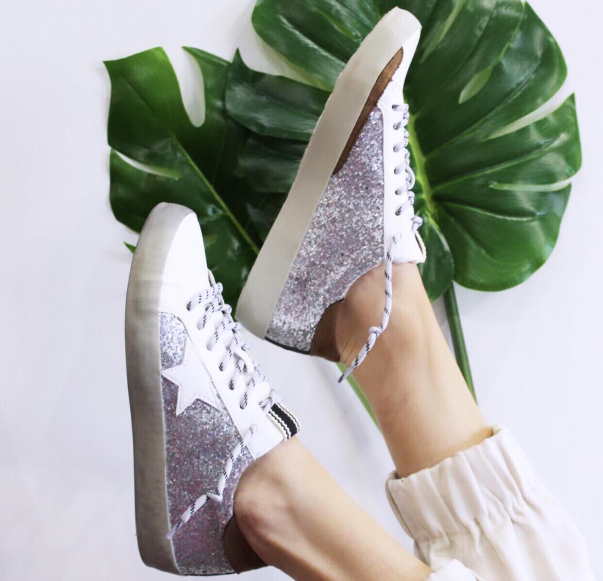 Silver Glitter Sneaker