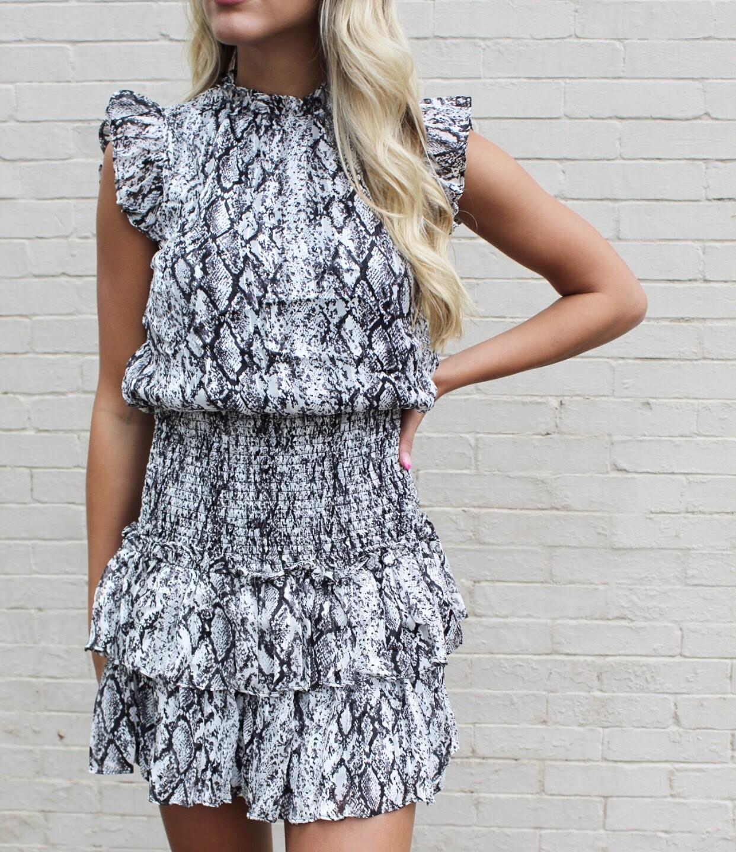 Black And White Snakeskin Dress