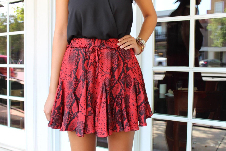 Red Snakeskin Skirt