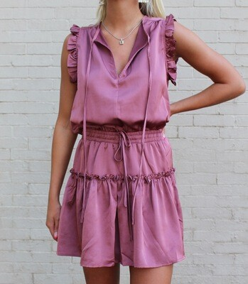 Mauve Peasant Dress