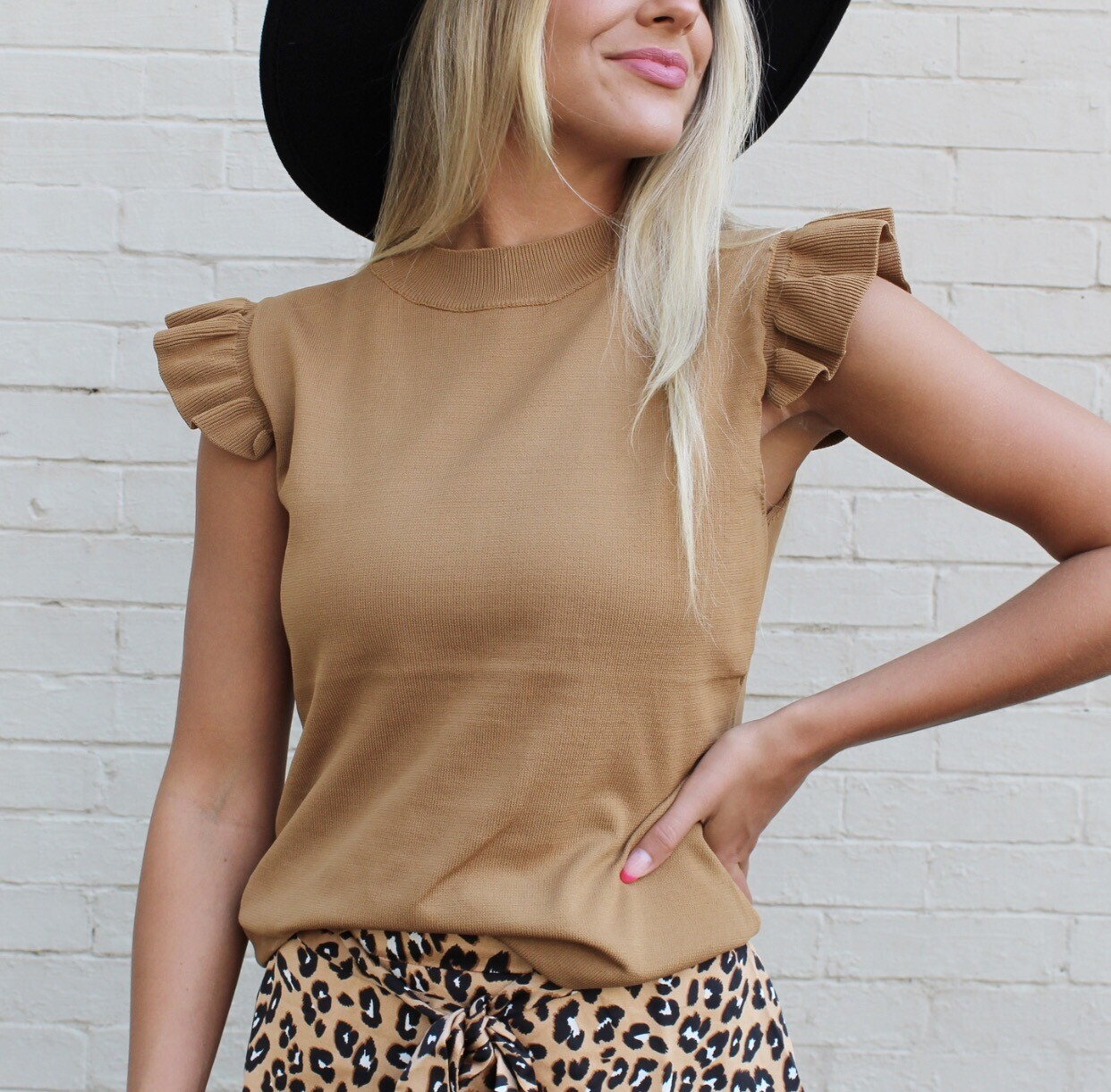 Camel Flutter Sweater