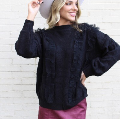 Black Tulle Sweater