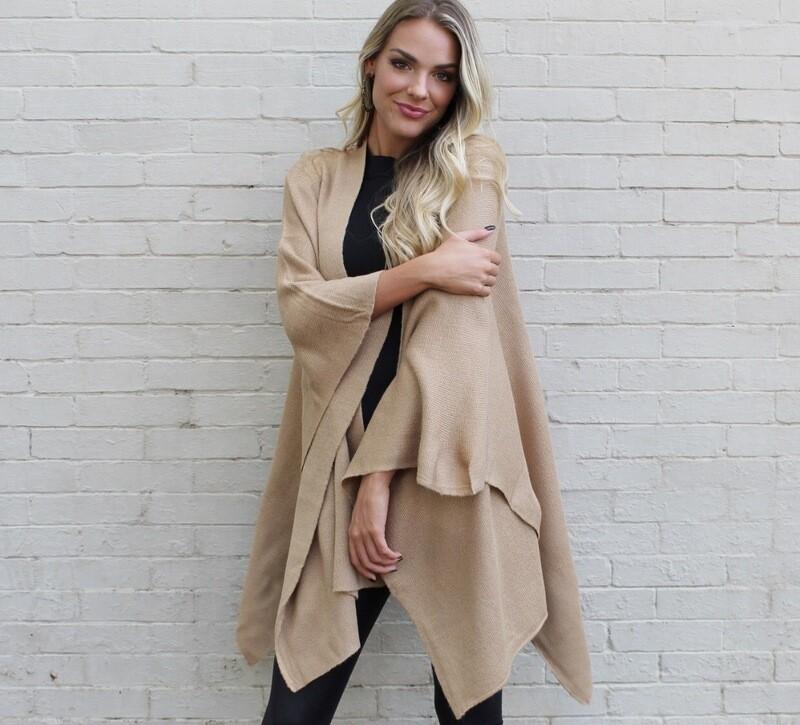 Camel Blanket Poncho