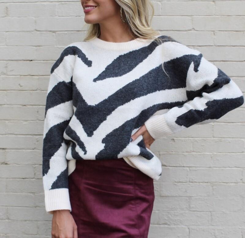 Zebra Charcoal Sweater