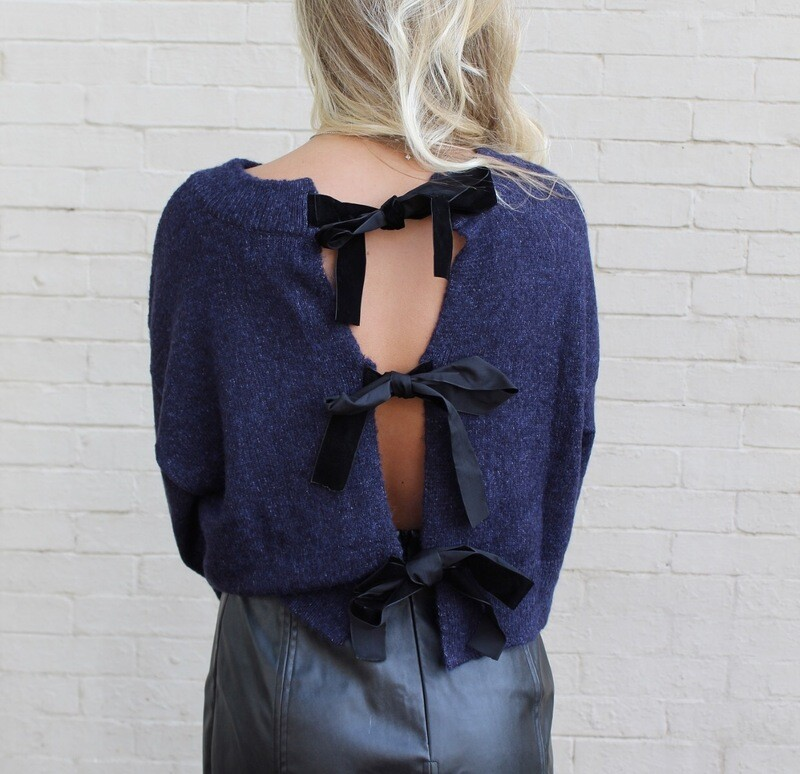 Navy Backless Sweater