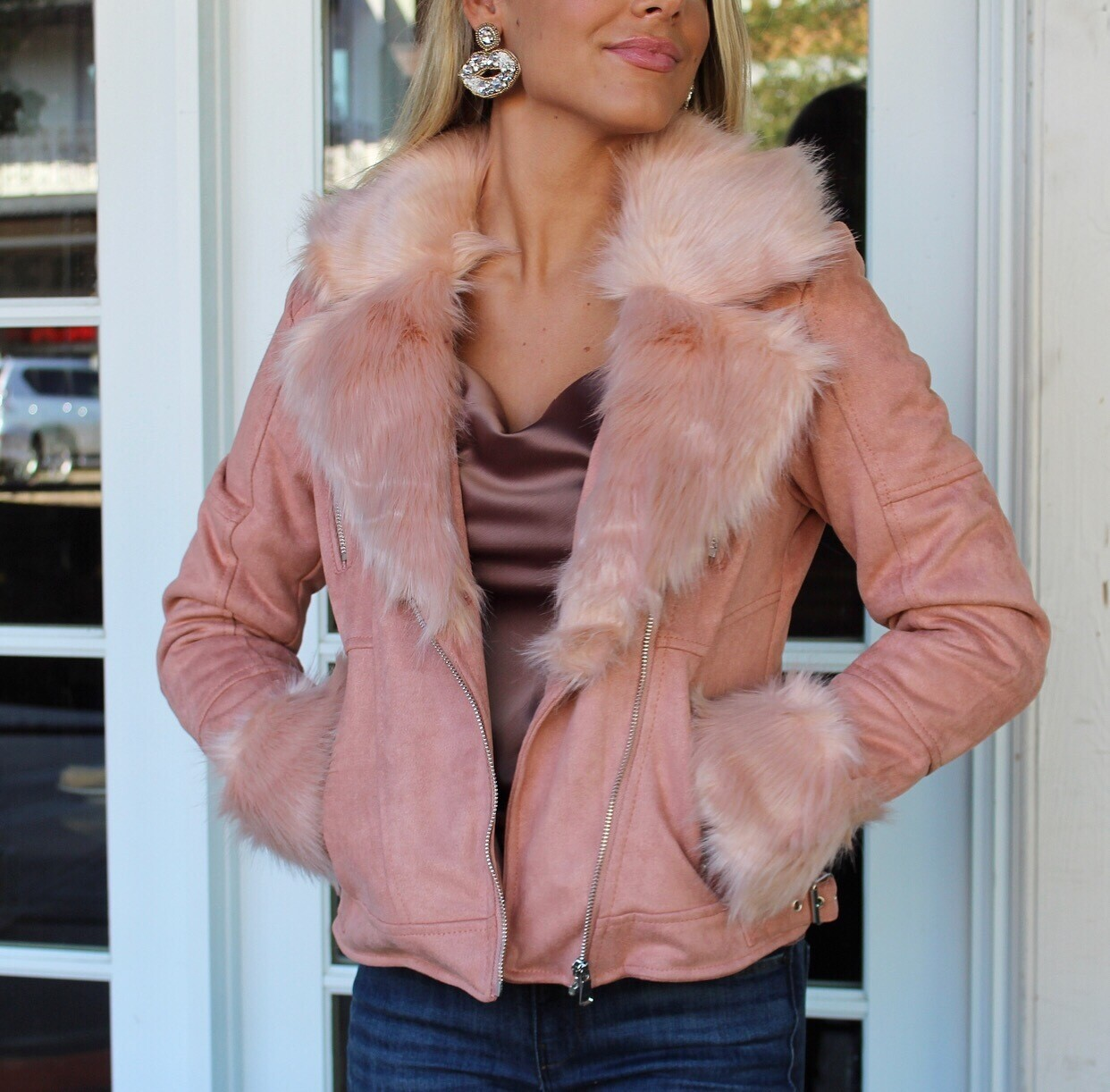 Blush Fur Collar Jacket
