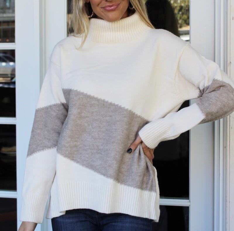 Cream Colorblock Sweater