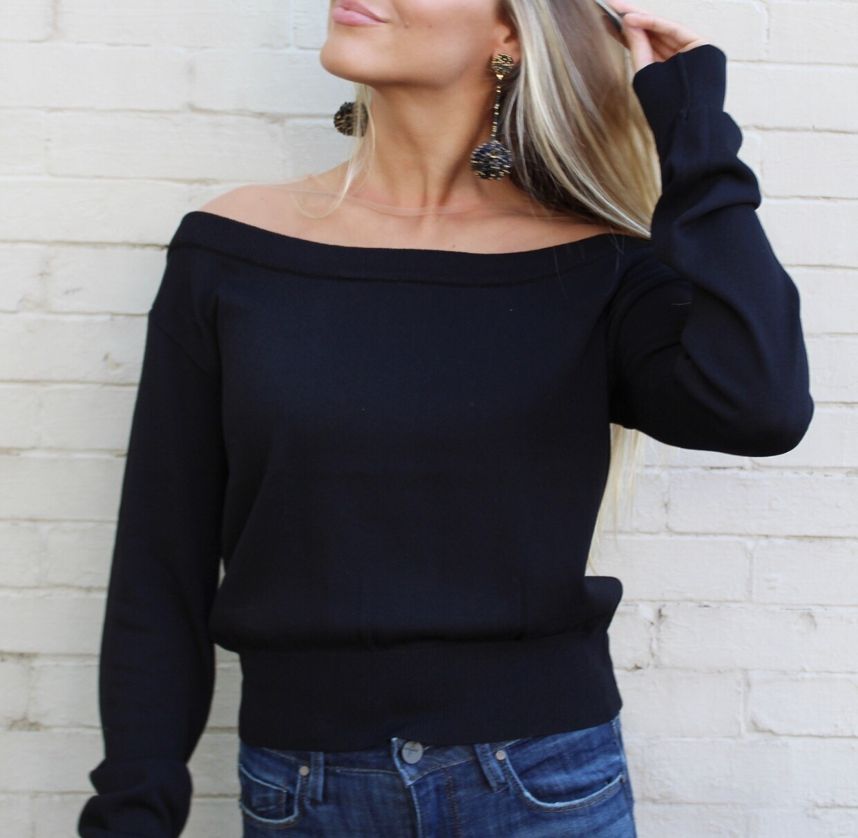 Black Sheer Neck Sweater