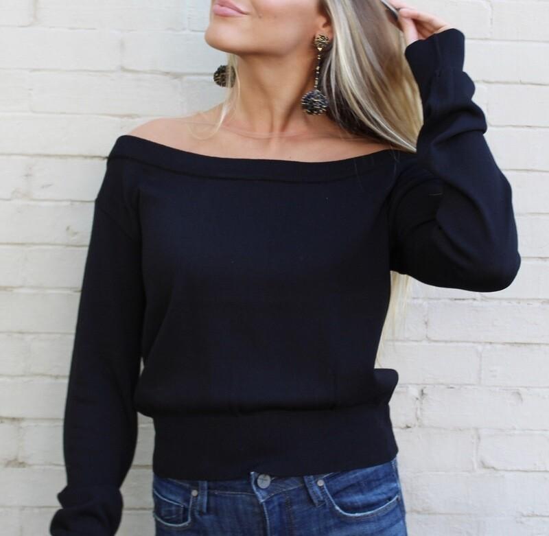 Black Sheer Neck Sweater