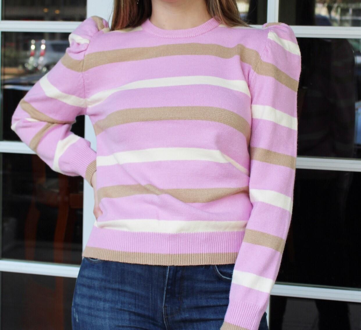 Stripe Puff Sleeve Sweater