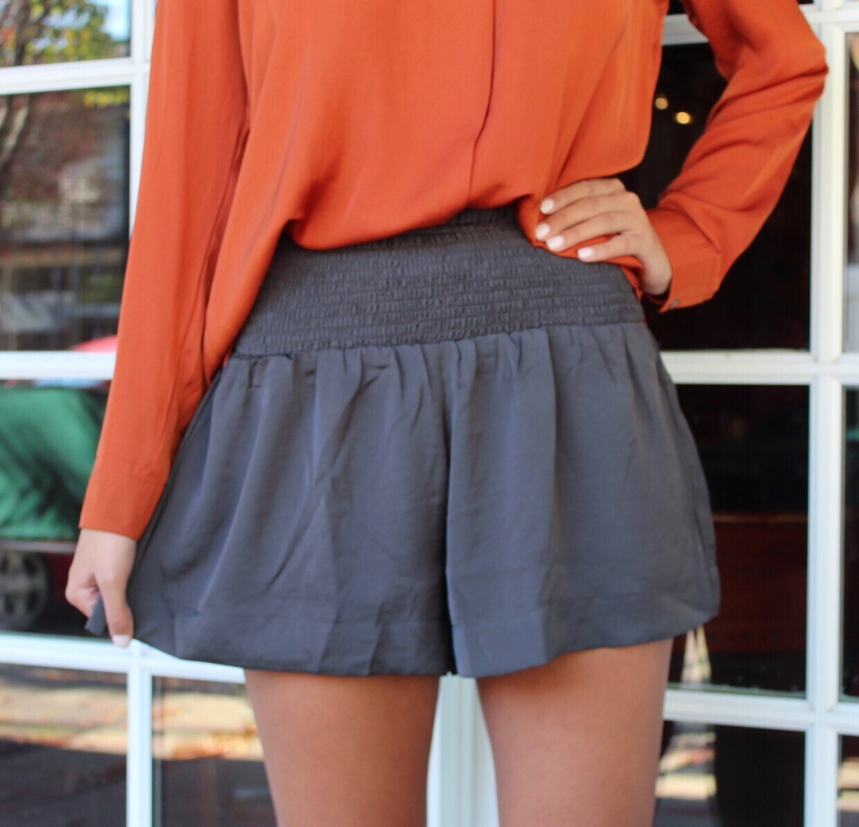 Charcoal Smocked Short