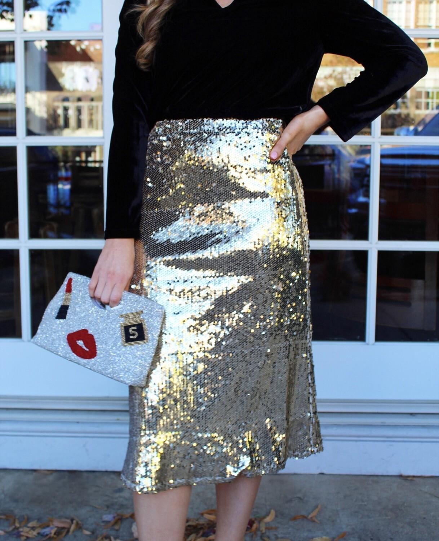 Sequin Gold Midi Skirt
