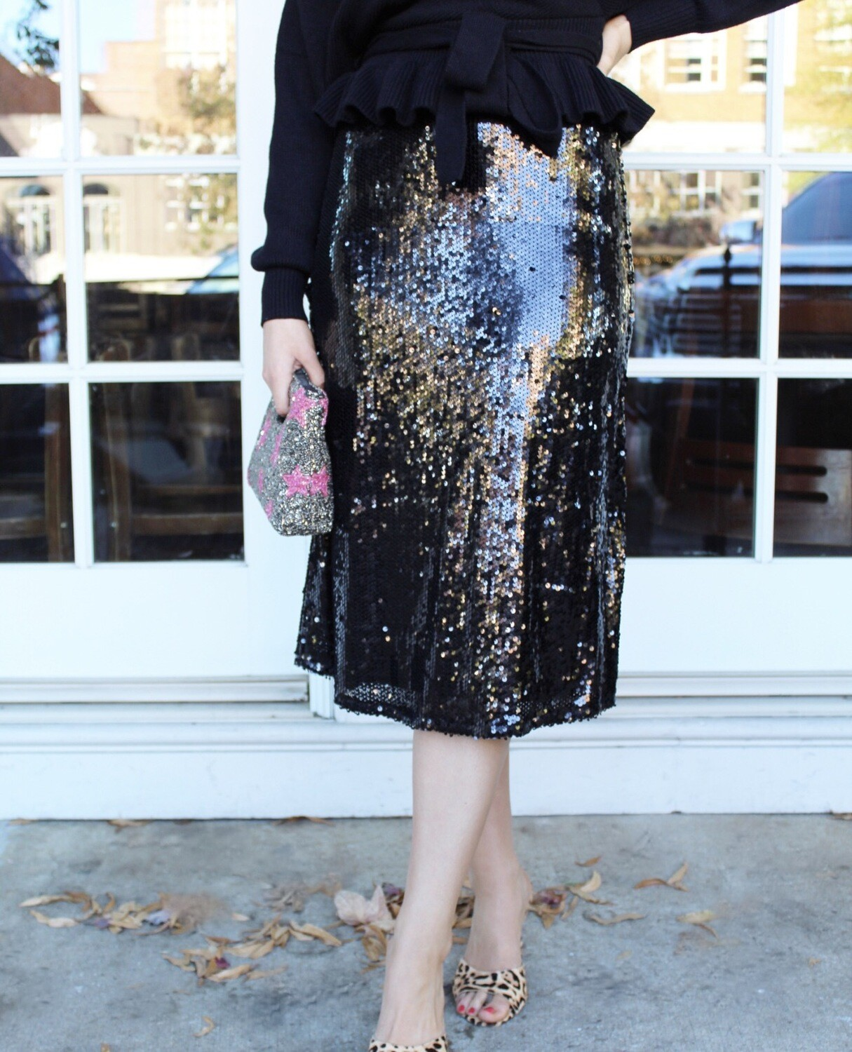 Black Sequin Midi Skirt