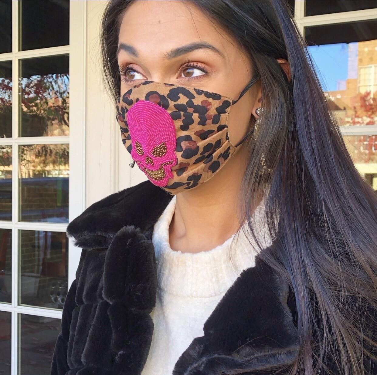 Leopard Mask With Fuchsia Skull