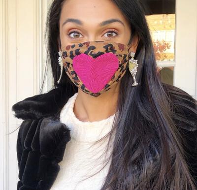 Leopard Beaded Heart Mask