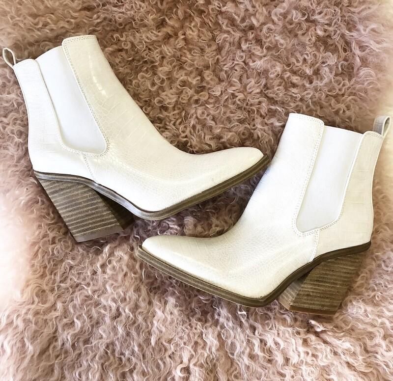 White Croc Bootie