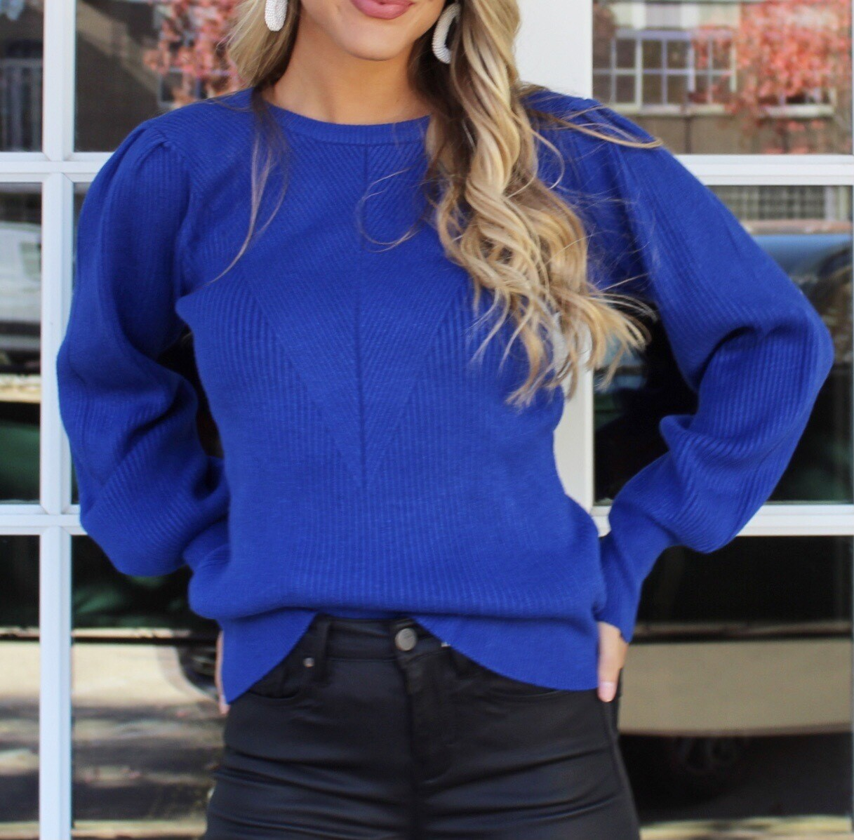 Cobalt Puff Sleeve Sweater