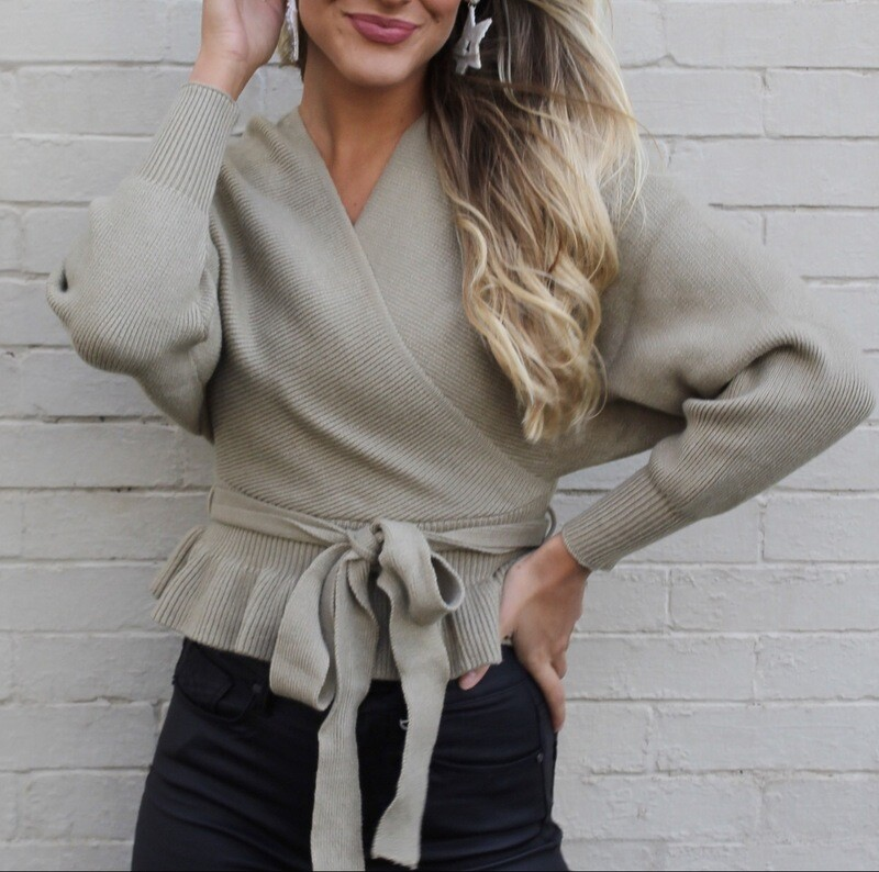Olive Faux Wrap Sweater