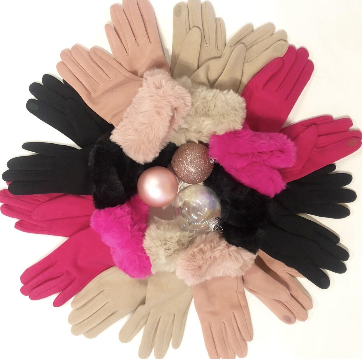 Black Fur Gloves