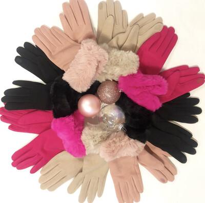 Fuchsia Fur Gloves