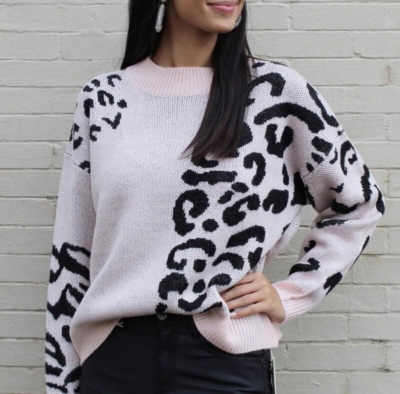 Soft Pink Leopard Sweater