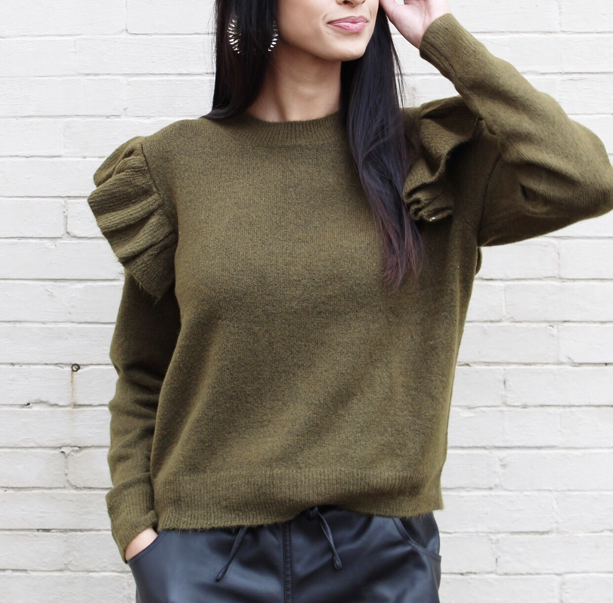 Army Green Flutter Sweater