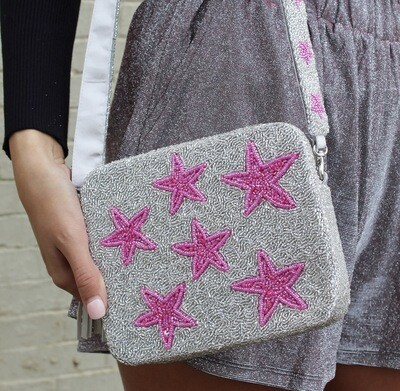 Pink And Silver Beaded Crossbody