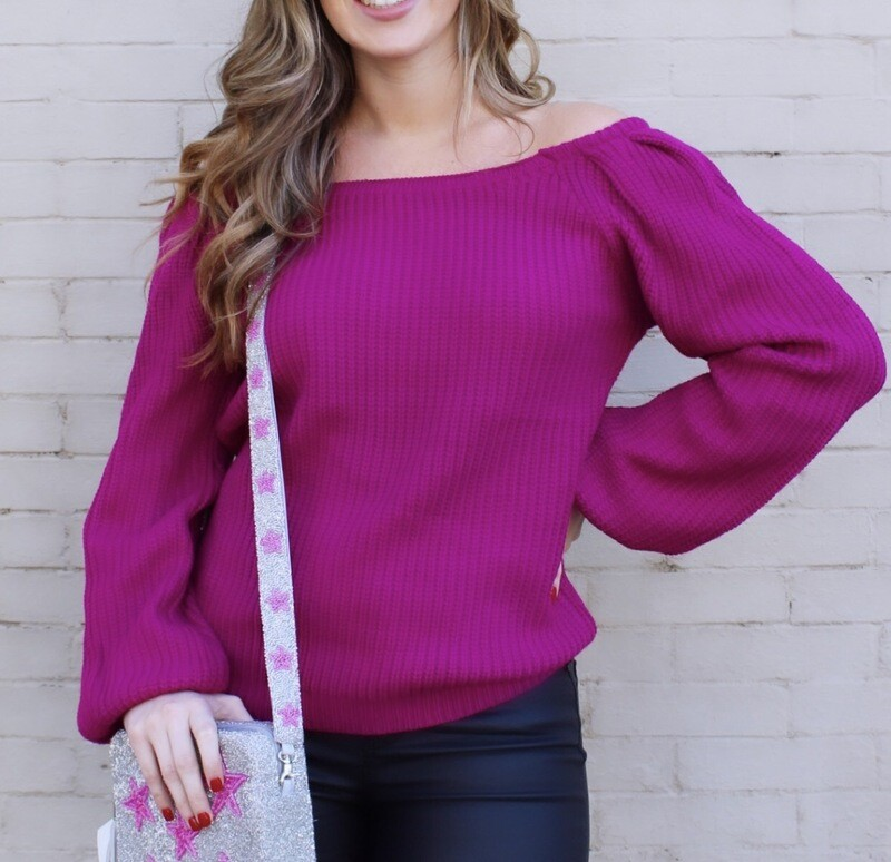 Magenta OTS Sweater