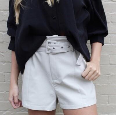 Beige Leather Short